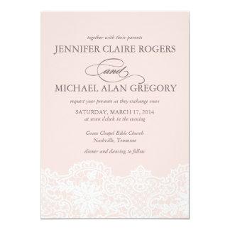 Faire-part de mariage rose de dentelle de ballet