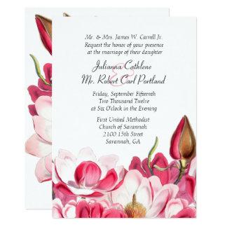 Faire-part de mariage rose du sud de magnolias