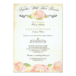 Faire-part de mariage rose et crème floral