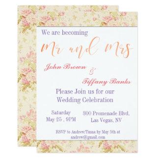 Faire-part de mariage rose floral de typographie