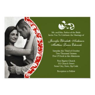 Faire-part de mariage rouge et vert de photo de