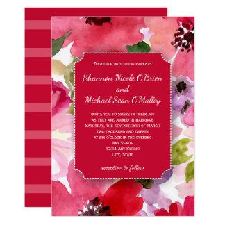 Faire-part de mariage rouge floral moderne