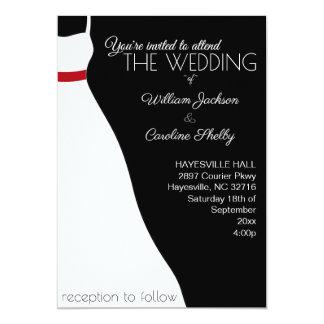Faire-part de mariage rouge noir moderne de robe