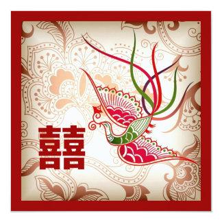 Faire-part de mariage rouge vintage de Chinois de