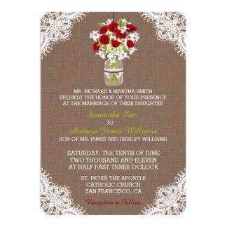 Faire-part de mariage rustique de dentelle de pot