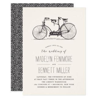 Faire-part de mariage tandem vintage de bicyclette