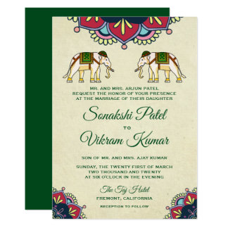 Faire-part de mariage traditionnel d'Indien