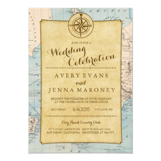 Faire-part de mariage vintage de carte de voyage