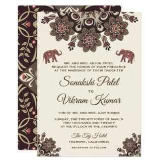 Faire-part de mariage vintage élégant d'Indien de
