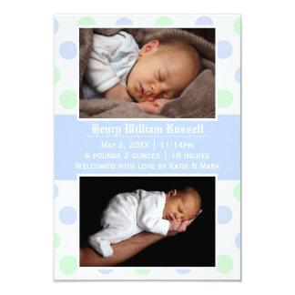 Faire-part de naissance bleu et vert des photos