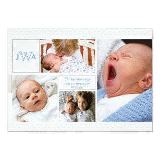 Faire-part de naissance cranté de collage de photo