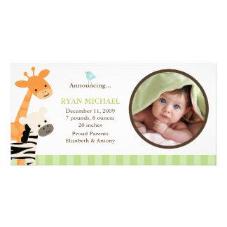 Faire-part de naissance d'amis de safari photocarte customisée