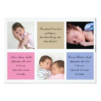 Faire-part de naissance de jumeaux - fille et