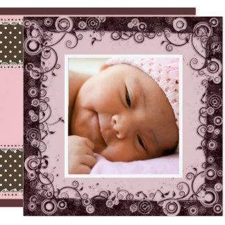 Faire-part de naissance de rose et de bébé de