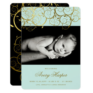 Faire-part de naissance d'or de photo de bébé de