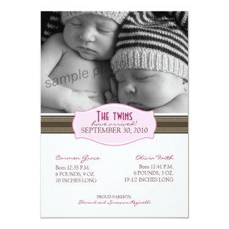 Faire-part de naissance élégant de jumeaux : Roses