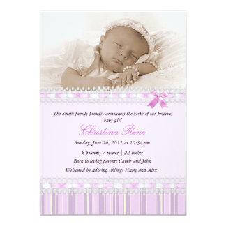 Faire-part de naissance élégant de photo - rose