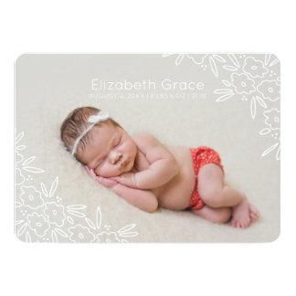 Faire-part de naissance floral doux de photo de
