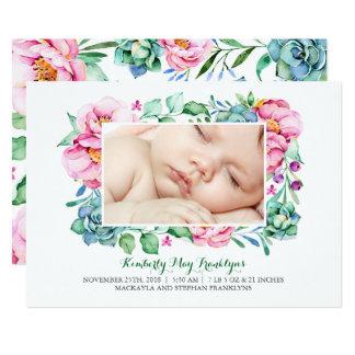 Faire-part de naissance floral rose de bouquet de