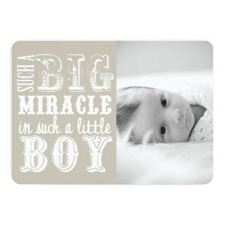 Faire-part de naissance gris de photo du garçon |