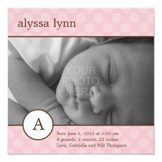Faire-part de naissance initial classique de bébé