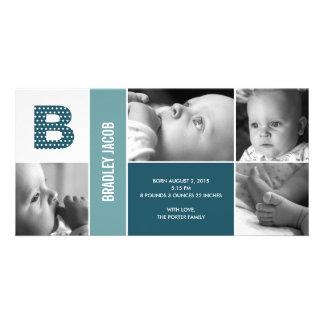 Faire-part de naissance initial de bébé de pois photocarte