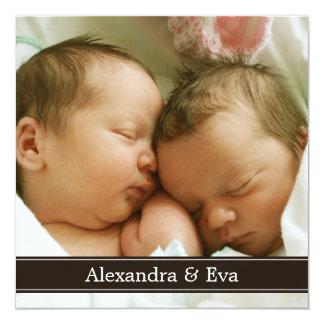 Faire-part de naissance jumeau de photo de bébés