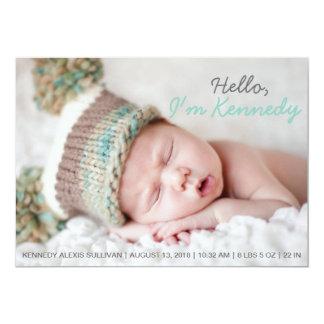 Faire-part de naissance manuscrit bleu de bébé de