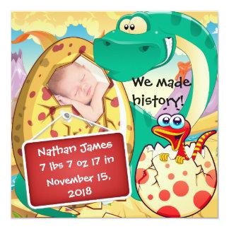 Faire-part de naissance mignon de dinosaure
