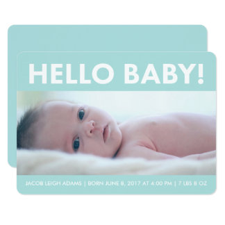 Faire-part de naissance moderne de photo de bébé