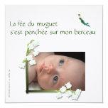 Faire-part de naissance muguet et fée carton d'invitation  13,33 cm
