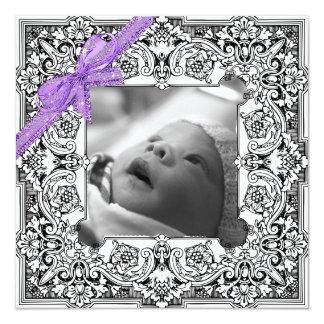 Faire-part de naissance noir et blanc de bébé