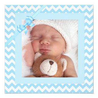 Faire-part de naissance rayé bleu de bébé