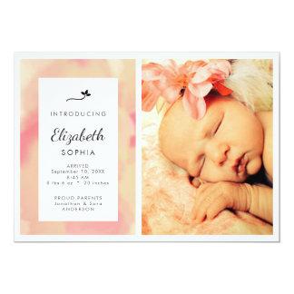 Faire-part de naissance rose de fille de photo