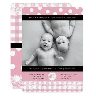 Faire-part de naissance rose de filles de jumeau