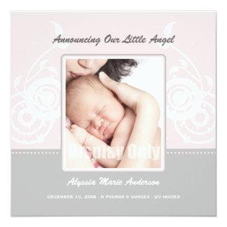 Faire-part de naissance rose de photo de fille