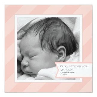 Faire-part de naissance rose de photo de rayure