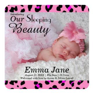 Faire-part de naissance rose de photo d'empreinte