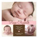 Faire-part de naissance simplement précieux - rose