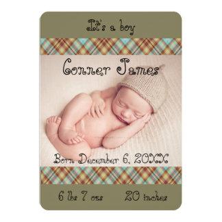 Faire-part de photo de bébé de plaid de Brown bleu