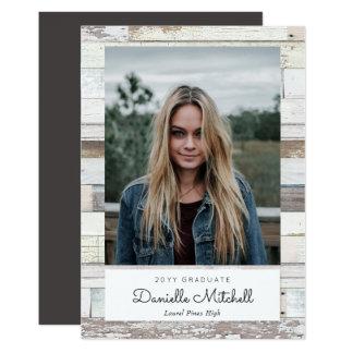 Faire-part en bois affligé de photo de diplômé carton d'invitation  12,7 cm x 17,78 cm