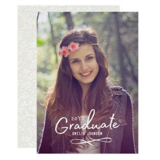 Faire-part enchanteur de photo de diplômé carton d'invitation  12,7 cm x 17,78 cm