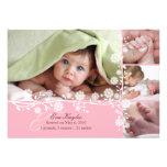Faire-part floral sensible rose de bébé aussi