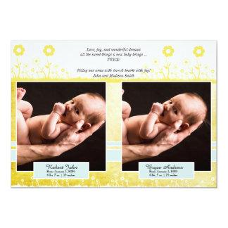 Faire-part jumeau jaune et bleu de bébé de photo
