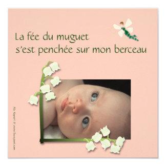 Faire-part naissance muguet et fée felt rose pale