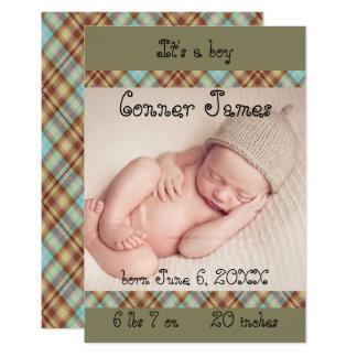 faire-part nouveau-né de plaid du bébé 3x5 simple