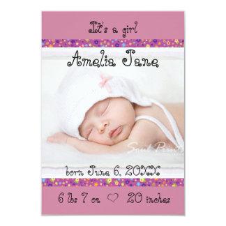 faire-part nouveau-né pourpre du bébé 3x5