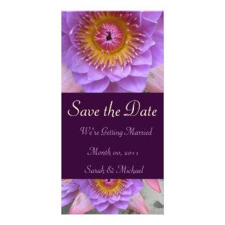 Faire-part pourpre de mariage de fleur de Lotus Photocartes Personnalisées