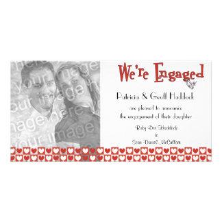 Faire-part rouge et blanc de fiançailles de photo photocarte personnalisée