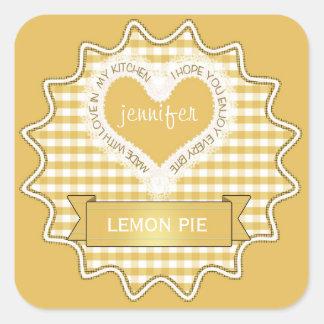 Fait avec le jaune de guingan d'amour sticker carré